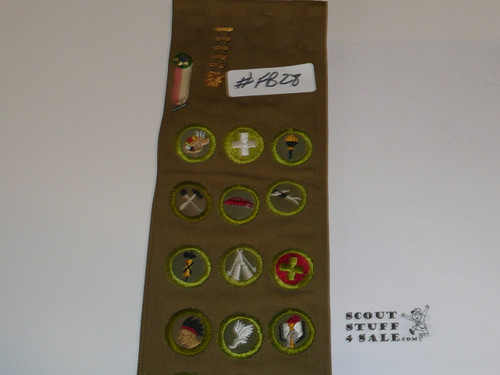 1940's Boy Scout Merit Badge Sash with 16 crimped merit badges, Sateen LAAC Camp Patches, Rank/Position Patches and a Los Angeles Kh/Red Strip, 1950 NJ LAAC JSP and more, #FB28