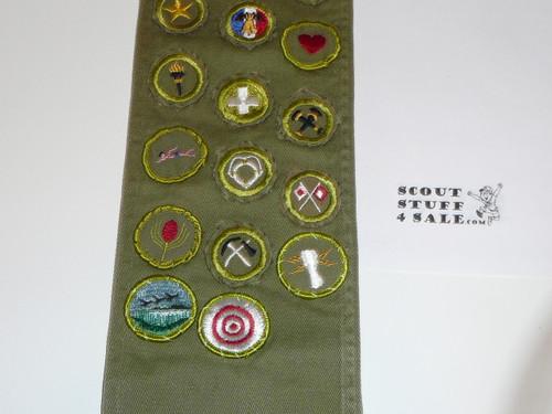 1950-60's Boy Scout Merit Badge Sash with 26 Khaki Crimped/ R/e Twill Merit badges, #FB38