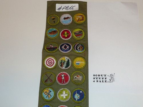 1960-70's Boy Scout Merit Badge Sash with 29 Rolled Edge Merit badges, #FB65