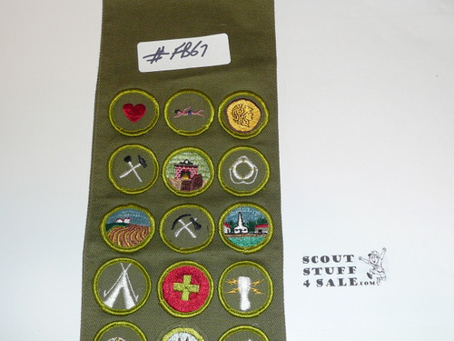 1960-70's Boy Scout Merit Badge Sash with 26 Rolled Edge Merit badges, #FB67