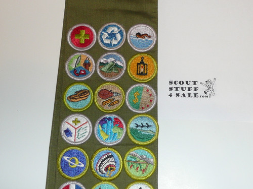 1980's Boy Scout Merit Badge Sash with 31 Rolled Edge Merit badges, #FB79