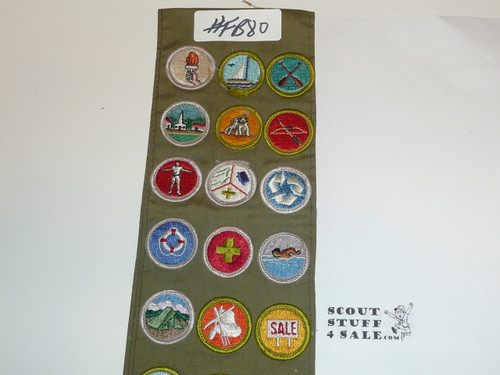 1970's Boy Scout Merit Badge Sash with 31 Rolled Edge Merit badges, #FB80