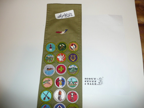 1970's Boy Scout Merit Badge Sash with 26 Rolled Edge Merit badges, #FB82