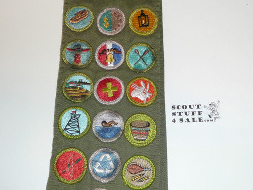 1980's Boy Scout Merit Badge Sash with 30 Rolled Edge Merit badges, #FB84
