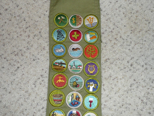 1970's Boy Scout Merit Badge Sash with 26 Rolled Edge Merit badges, #FB87