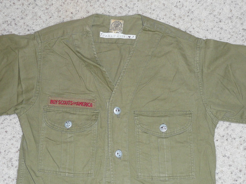 """1930's Boy Scout Uniform Shirt with metal buttons and no patches, 17"""" Chest and 24"""" Length, #FB17"""