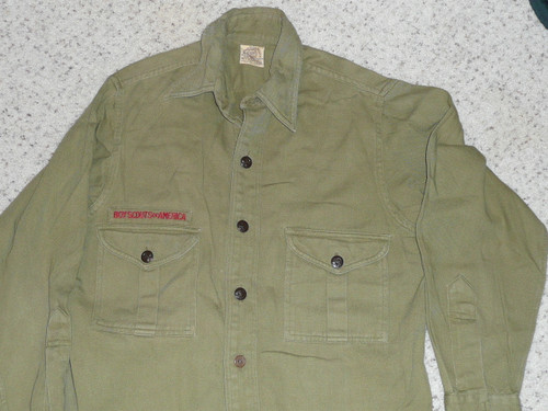 """1950's Boy Scout Uniform Shirt with no patches, 19"""" Chest and 27"""" Length, #FB18"""