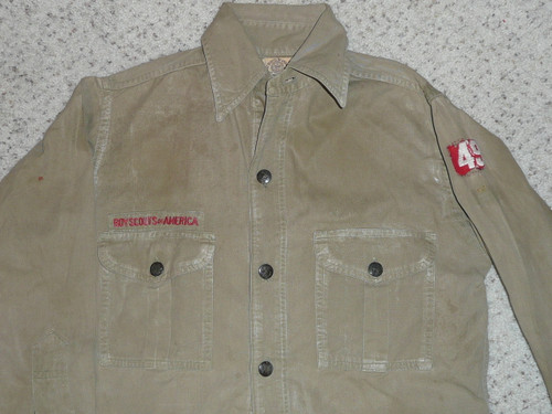 """1930's Boy Scout Uniform Shirt with a felt unit number and metal buttons, 18"""" Chest and 25"""" Length, well used, #FB21"""