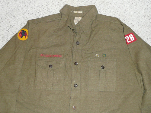 """1930's Boy Scout Uniform Shirt with felt patrol patch and unit number, WOOL, 23"""" Chest and 33"""" Length, #FB29"""