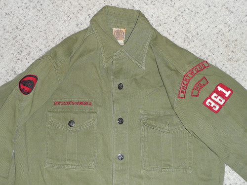 """1940's Boy Scout Uniform Shirt with metal buttons from Brentwood MO with khaki/red comm strip, 21"""" Chest and 27"""" Length, #FB32"""