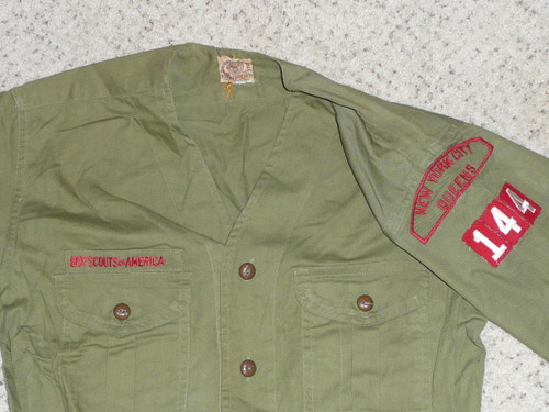 """1940's Boy Scout Uniform Shirt with upgraded buttons from New York City Queens khaki/red strip, 19"""" Chest and 29"""" Length, #FB33"""