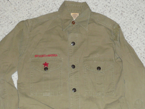"""1930's Boy Scout Uniform Shirt with metal buttons, 18"""" Chest and 26"""" Length, #FB38"""