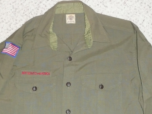 """1950's Boy Scout Uniform Shirt, feels like wool, MINT CONDITION, 22"""" Chest and 32"""" Length, #FB40"""