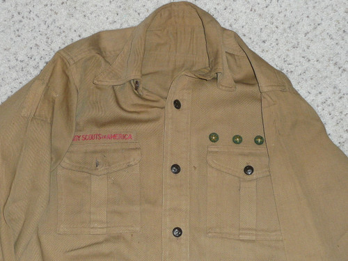 """1930's Boy Scout Uniform Shirt with metal buttons, 19"""" Chest and 26"""" Length, #FB41"""
