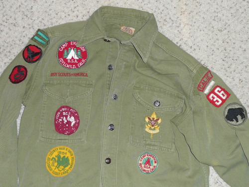 """1950's Boy Scout Uniform, Early Camp Emerson and Riverside county council, 20"""" Chest and 26"""" Length, #FB43"""