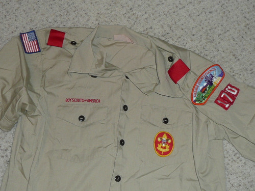 1980's Boy Scout Uniform Shirt from Orange Country Council, Mens Large, #FB47