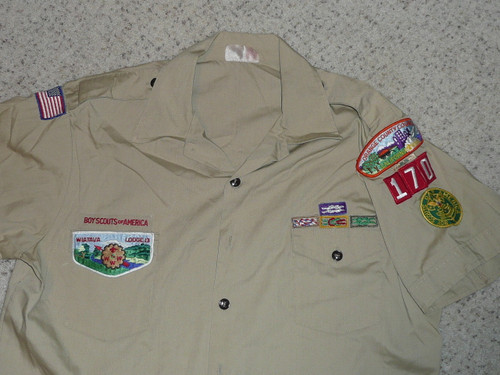 1980's Boy Scout Uniform Shirt from Orange Country Council (Wiatava Lodge #13), Mens XL, #FB49