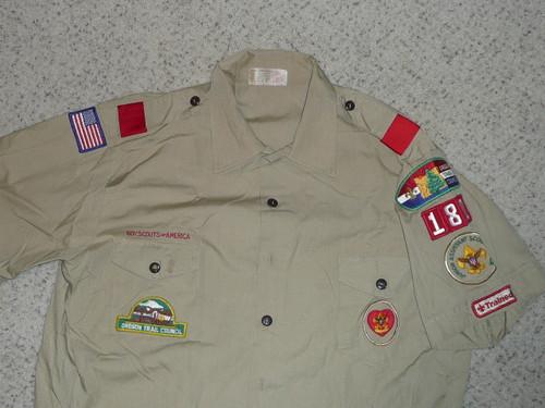 1980's Boy Scout Uniform Shirt from Oregon Trail Council, Mens XL, #FB51