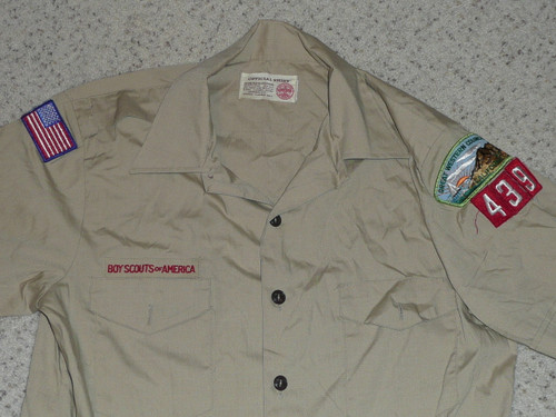 """1980's Boy Scout Uniform Shirt from Great Western Council, 21"""" chest 29"""" length, #FB56"""