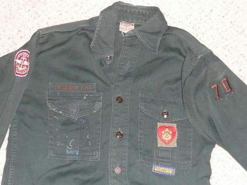 """1950's Boy Scout Explorer Uniform Shirt, 18"""" chest 27"""" length, #FB68"""