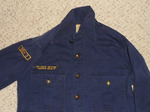 """1940's Boy Scout Cub Uniform pullover Shirt with metal buttons, 12"""" neck, #FB70"""