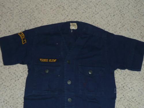 "1940's Boy Scout Cub Uniform Shirt with metal buttons, 15"" chest 25.5"" length, #FB76"