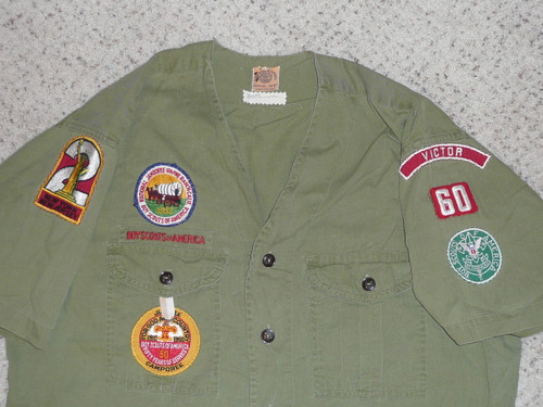 """1950's Boy Scout Uniform Shirt with 1953 & 1960 Jamboree and Region 2 with VICTOR RWS, 23"""" chest 29"""" length, #FB100"""