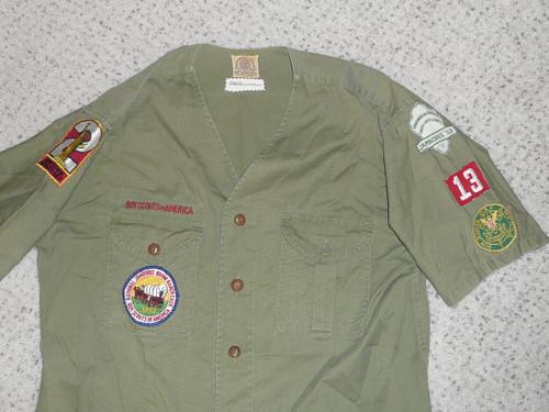 """1950's Boy Scout Uniform Shirt with 1953 Jamboree and RARE felt Finger Lakes Council Contingent Patch, 21"""" chest 29"""" length, #FB101"""