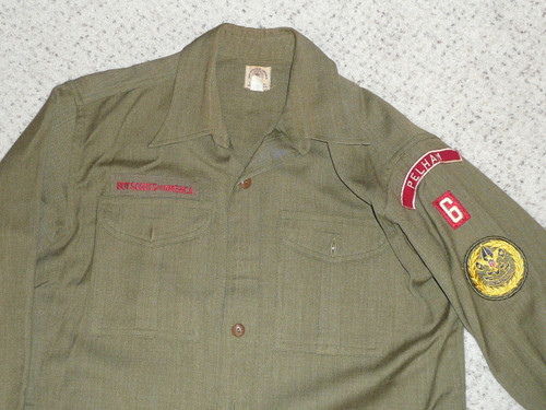 1940's Boy Scout Uniform Shirt WOOL in GREAT condition with PELHAM RWS, 15 1/2 Reg, #FB102