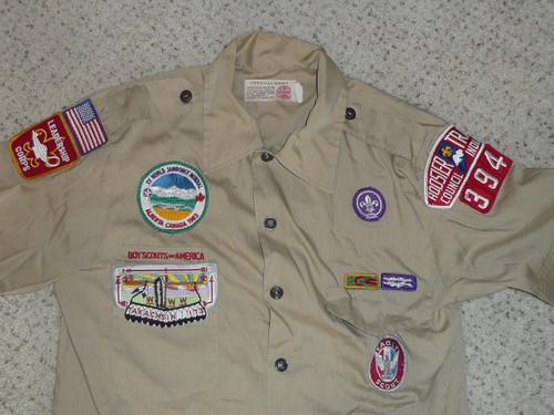 1990's Boy Scout Uniform Shirt 1983 World Jamboree (OA & Eagle) from Hoosier Trails Council, Mens Medium, #FB105