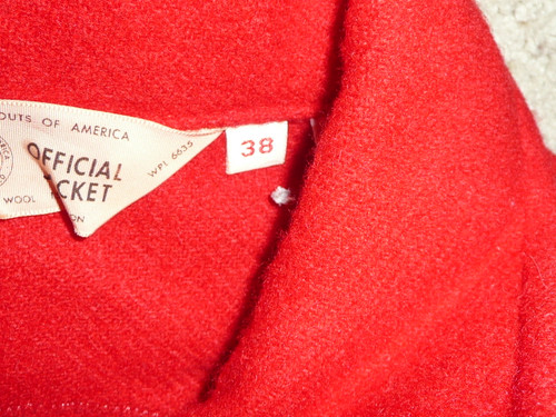 Official Boy Scouts of America Red Wool Jacket, lots of patches  -  Size 38, used, #FB5