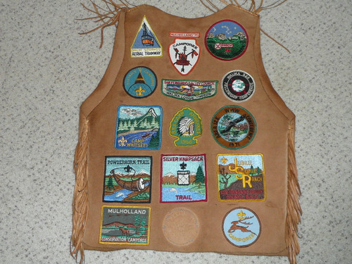 Boy Scout Leather Patch Vest with Walika Lodge, Camp Whitsett and other Southern CA patches