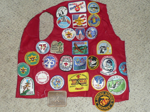 Boy Scout Leather Patch Vest from Orange County CA with Camp and other patches