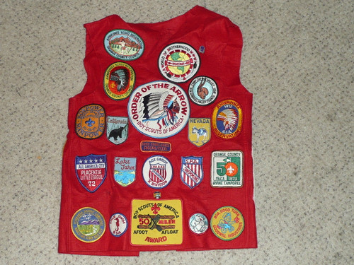 Boy Scout Leather Patch Vest from Orange County CA with Camp and other patches #2