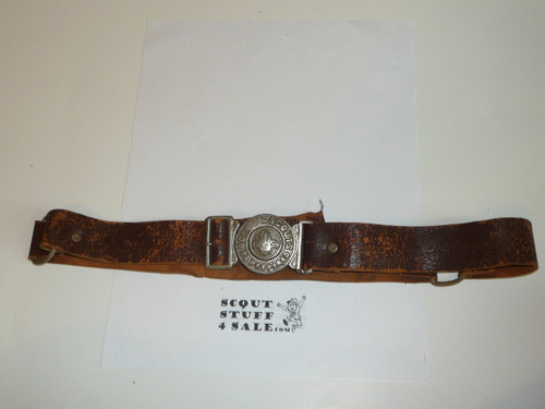 Very Early British Boy Scout Cast Belt Buckle on Leather Belt, used