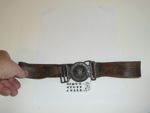 Early British Boy Scout Cast Belt Buckle on Leather Belt, used and repaired