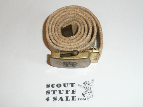 1950's Explorer CAW design Brass Friction Belt Buckle with white web belt, used