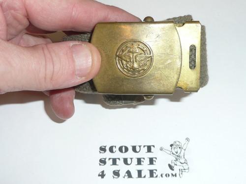1950's Explorer CAW design Brass Friction Belt Buckle with black web belt, used