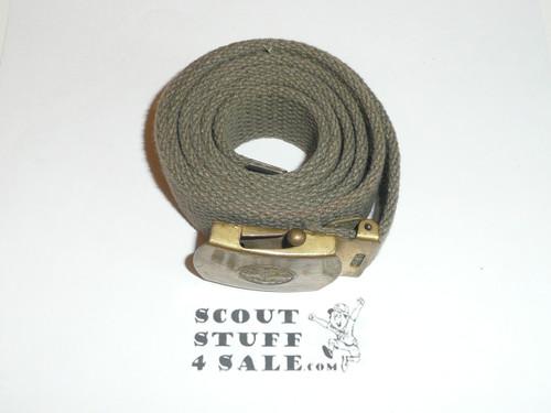 1950's Explorer CAW design Brass Friction Belt Buckle with olive web belt, used