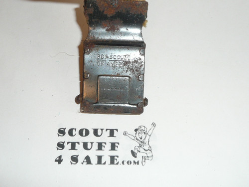 1930's Boy Scout Friction Belt Buckle and web belt, used with some rust