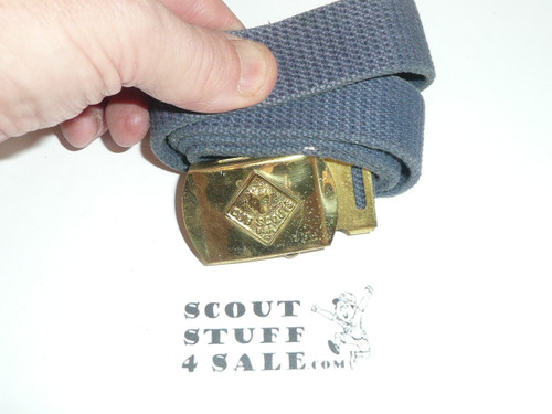 1960's Cub Scout Brass Friction Belt Buckle with webbed belt, unsed