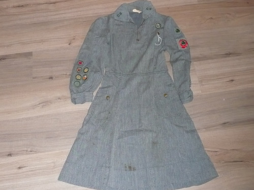 """1930's Girl Scout Uniform with patches, 15"""" chest x 38"""" length, GS5"""