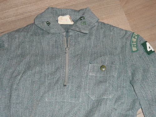 """1930's Girl Scout Uniform with patches from Mt. Pleasant, 14"""" chest x 36"""" length, GS7"""