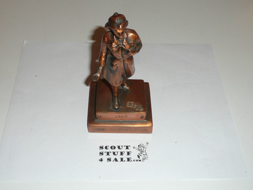"Girl Scouts USA Marjorie Dangerfield Bronze Trophy Statuette, 17"" tall, 1953, engraving on plaque may be different than shown"