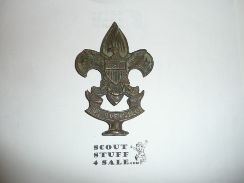 EARLY brass boy scout emblem Flag Pole Topper