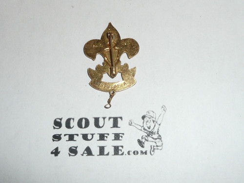 RARE First Class Hat Pin, Vertical safety Pin Clasp, Squatty Crown, 45mm Tall with knot, Enameled Eagle