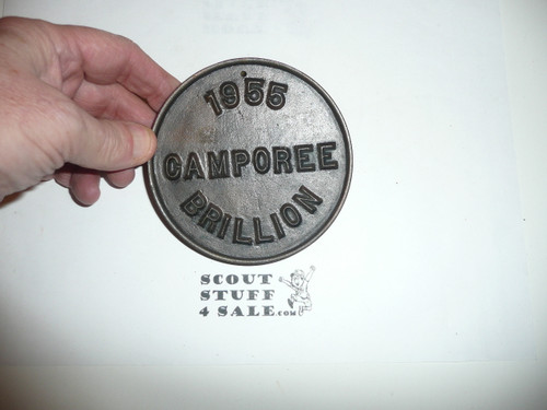 Large Cast Bronze 1955 Boy Scout Camporee Medallion