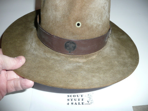 """Early Official Boy Scout """"Scout Master"""" Campaign Hat (Smokey the Bear hat) made by Stetson, size 7 3/8, some wear, CH4"""