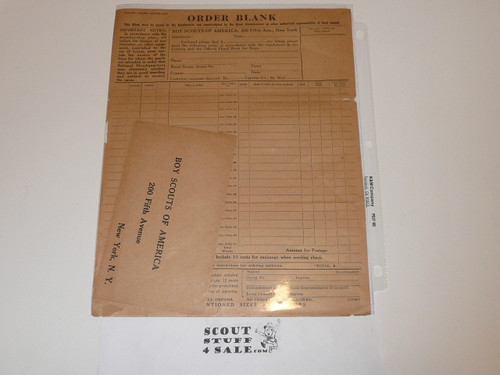 1920 Order form and instructions for Official Boy Scouts of America Items PLUS 200 5th Avenue return envelope