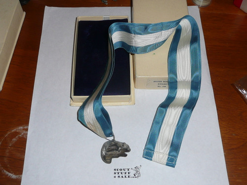 1940's Silver Beaver Award, MINT in box with small stain on ribbon